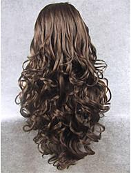 imstyle 26''natural recherche résistante perruques front sombres populaires de dentelle synthétique à longue vague brune de haute qualité