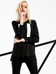 Feminino Camisa Social Informal / Casual / Formal Simples / Moda de Rua Primavera / Outono,Sólido Preto Poliéster Colarinho de Camisa