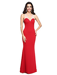 2017 TS Couture® Formal Evening Dress - Beautiful Back Trumpet / Mermaid V-neck Floor-length Jersey with Beading