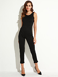 Women's Solid Black Jumpsuits , Sexy / Party Halter Sleeveless