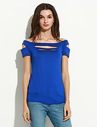 Tee-shirt Aux femmes,Couleur Pleine Soirée Sexy / Chic de Rue Eté Manches Courtes Bateau Bleu / Rouge / Noir / Gris / Violet Polyester Fin