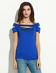 Damen Solide Sexy / Street Schick Klub T-shirt,Bateau Sommer Kurzarm Blau / Rot / Schwarz / Grau / Lila Polyester Dünn