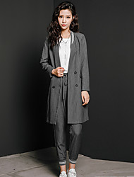 Women's Going out / Casual/Daily Vintage / Simple Skirt Suits,Striped Round Neck Long Sleeve Gray Cotton