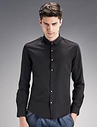 Men's Wedding / Work Vintage / Street chic Shirt,Solid Shirt Collar Long Sleeve Black Cotton