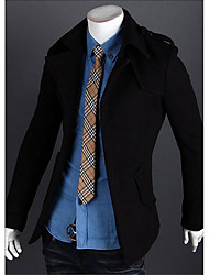 Men's Casual/Daily Simple Trench Coat,Solid Long Sleeve Blue / Red / Black / Gray Wool