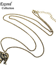 New Coming Lovely Cute Anti Gold Elephant Alloy Depant Long Necklace for Women NL161039