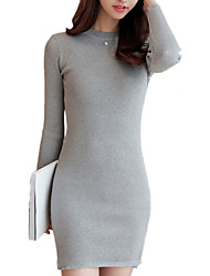Women's Going out / Casual/Daily Street chic Bodycon / Sweater DressSolid Round Neck Above Knee Long Sleeve Black / Gray /Wine