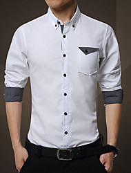 Men's Work Vintage / Street chic Shirt,Solid Shirt Collar Long Sleeve White Cotton