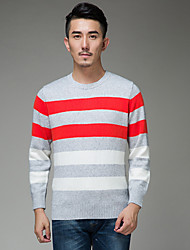 Men's Going out Party/Cocktail Vintage Street chic Sophisticated Regular Pullover,Color Block Multi-color Round Neck Long Sleeve Cotton