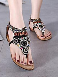 Women's Sandals Comfort Other Animal Skin Casual Black Beige