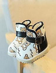 Mädchen Baby-Stiefel-Lässig-PU-Flacher Absatz-Komfort-Schwarz Blau Weiß