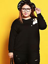 Sweatshirt Femme Grandes Tailles Décontracté / Quotidien simple Imprimé Col Arrondi Micro-élastique Coton Spandex Manches LonguesAutomne