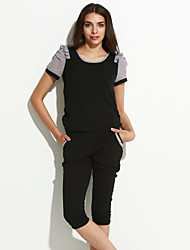 Women's Work Simple Spring Set,Color Block Round Neck Short Sleeve Black Polyester Thin