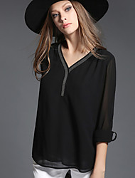 Women's Plus Size / Going out / Casual/Daily Simple / Street chic / Sophisticated All Seasons Blouse,Solid V Neck Long Sleeve Black