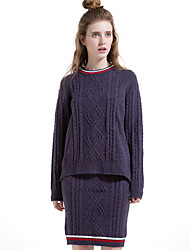 Women's Going out / Casual/Daily / Holiday Vintage / Simple Winter Skirt Suits,Solid Round Neck Long Sleeve PurpleWool / Cotton /