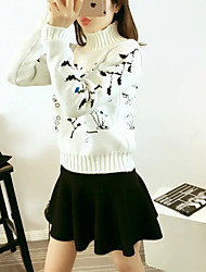 Women's Going out Party/Cocktail Street chic Sophisticated Regular Pullover,Print White Multi-color Stand Long Sleeve Cotton Spring Winter