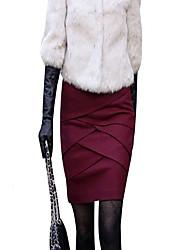 Damen Röcke,Bodycon einfarbigLässig/Alltäglich Mittlere Hüfthöhe Über dem Knie Elastizität Wolle Micro-elastisch Herbst