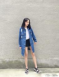 Set Femme,Couleur Pleine Travail Vintage Automne / Hiver Manches Longues Col Arrondi Bleu Coton Epais