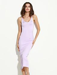 Mulheres Bainha Vestido Sensual / Simples Sólido Decote V Médio Sem Manga Azul / Marrom / Roxo Algodão Verão