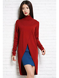 Women's Casual/Daily Simple Sweater Dress,Solid Turtleneck Knee-length Long Sleeve Red / Black / Gray Cotton / Polyester Fall / WinterMid