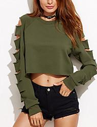 T-shirt Da donna Casual Sensuale Estate / Autunno,Tinta unita Rotonda Poliestere Verde Manica lunga Sottile