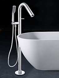 Contemporary Floor Mounted Floor Standing with  Ceramic Valve Single Handle Two Holes for  Chrome , Bathtub Faucet