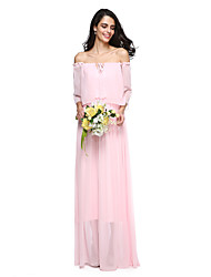 2017 Lanting Bride® Floor-length Chiffon Elegant Bridesmaid Dress - Off-the-shoulder with Pleats