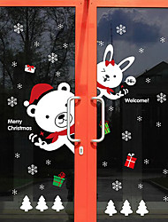 Wall Stickers Wall Decals Style Christmas Rabbit Bear Snow PVC Door Stickers