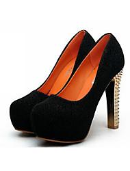 Mujer-Tacón Robusto-Confort Zapatos del club Light Up Zapatos-Tacones-Informal-PU-Negro Azul Plata