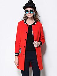 Damen Solide Retro Lässig/Alltäglich / Übergröße Jacke,Winter Rundhalsausschnitt Langarm Rot / Schwarz Mittel Kunstseide / Polyester