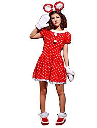 Costumes de Cosplay Costumes de père noël Fête / Célébration Déguisement Halloween Rouge Imprimé / Points Polka Robe Noël Féminin
