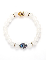 Natural White Marble Lava-Rock Beads Bracelet Fatima Palm Bracelet