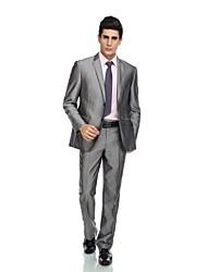 2017 Smokings zugeschnitten fit Spitzen Einreiher mit zwei Knöpfen Rayon (t / r) / Wolle& Polyester gemischt solide grau
