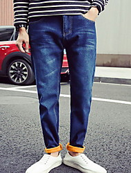 Men's Straight Jeans Pants,Casual/Daily Simple Solid Mid Rise Zipper Cotton / Spandex Micro-elastic Winter