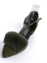 Women's Heels Fall Ankle Strap Cashmere Fur Casual Low Heel Buckle Black Green Gray Walking