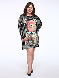 Tee Shirt Robe Femme Décontracté / Quotidien simple,Rayé Col Arrondi Au dessus du genou Manches Longues Noir Coton Taille Normale