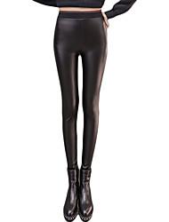 Feminino Skinny Chinos Calças-Cor Única Casual Sexy Cintura Média Elasticidade PU Stretchy Inverno