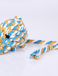 Cat / Dog Pet Toys Chew Toy / Teeth Cleaning Toy Rope / Mouse / Woven White / Blue / Brown Textile