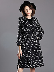 INPLUS LADY Women's Casual/Daily Vintage CoatPolka Dot Notch Lapel Long Sleeve Winter Black Polyester Medium