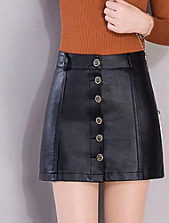 Women's Bodycon Solid Skirts,Casual/Daily High Rise Above Knee Zipper Polyester Micro-elastic Fall / Winter