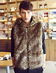 Men's Plus Size Street chic Fur Coat,Solid Hooded Sleeveless Winter Black / Brown Faux Fur Thick