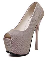 Damen-Sandalen-Lässig-PU-StöckelabsatzSchwarz Purpur Rosa