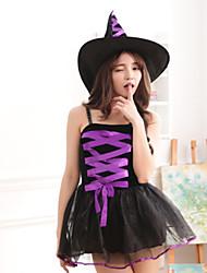 Costumes de Cosplay Sorcier/Sorcière Fête / Célébration Déguisement Halloween Violet / Noir Mosaïque Robe / Plus d'accessoires Noël