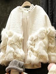Dongguk door 2016 new winter sweet princess Fan plush fur stitching short paragraph woolen outer