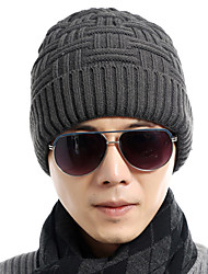 Winter Men 's Solid Color Twist Knit Ski - resistant Wool Warmer Head Cap