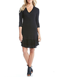 Women's Casual Simple Sweater Dress,Patchwork V Neck Mini / Shoulder to hem measures 47 inch ¾ Sleeve Black Cotton Autumn Mid Rise