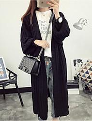 Damen Lang Strickjacke-Ausgehen Lässig/Alltäglich Einfach Solide Schwarz Grau Grün V-Ausschnitt Langarm Baumwolle Acryl PolyesterSommer