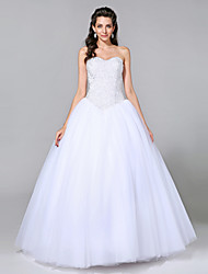 Ball Gown Sweetheart Floor Length Tulle Wedding Dress with Beading by LAN TING BRIDE®