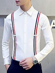 Masculino Camisa Informal / Casual Simples Outono,Colorido Branco / Preto Algodão / Pêlo de Raposa Colarinho de Camisa Manga Longa Média