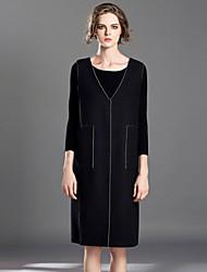 Damen Etuikleid Kleid-Lässig/Alltäglich Einfach Solide Tiefes V Knielang Ärmellos Schwarz Wolle / Polyester Herbst Mittlere Hüfthöhe